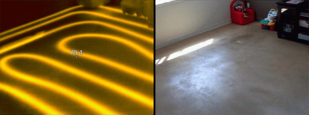 Un système de plancher chauffant vu à l'infrarouge